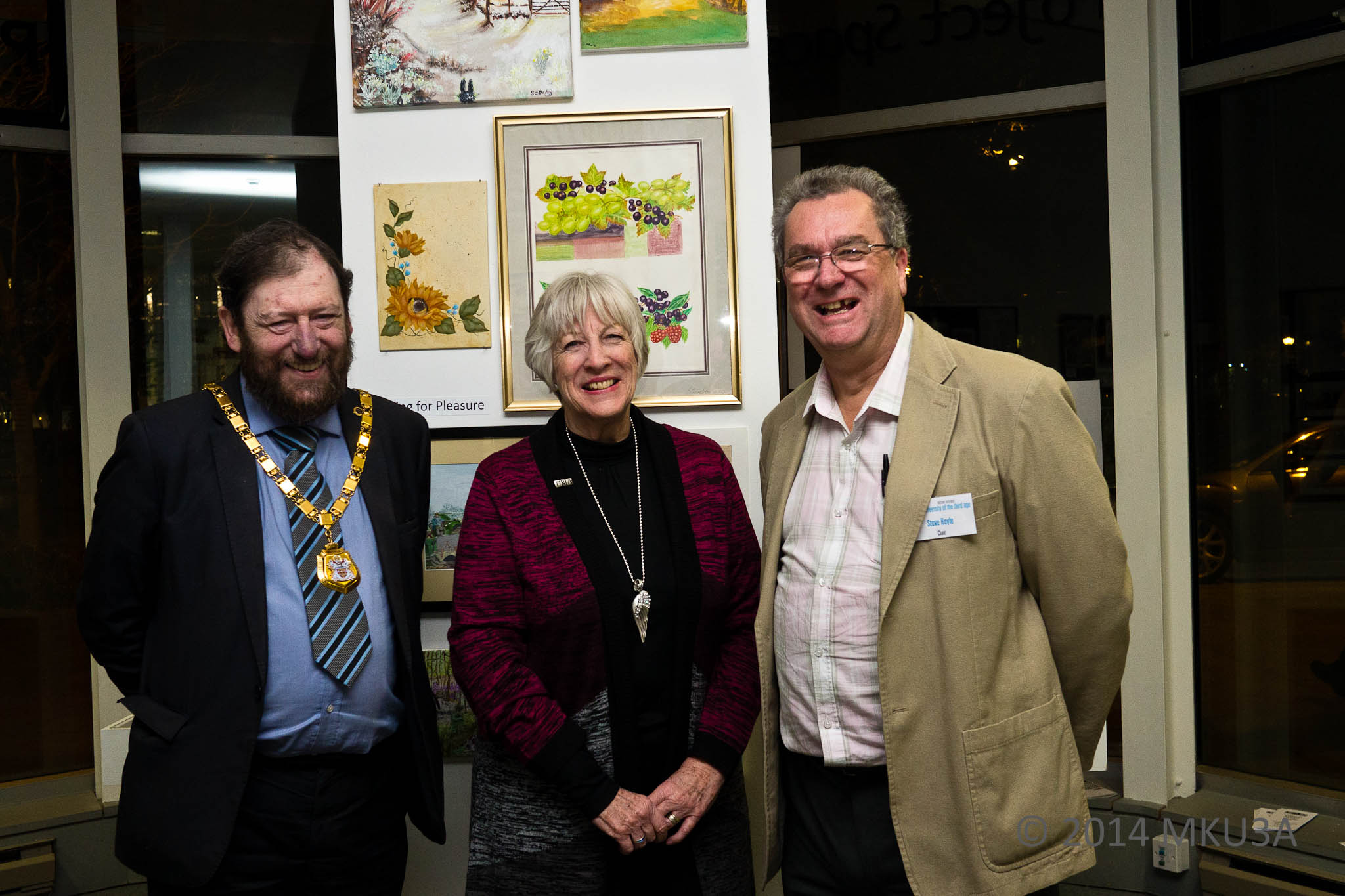The Mayor of Milton Keynes, Councillor Brian White, the National Chairman of U3A, Barbara Lewis and Milton Keynes U3A Chair, Stephen Royle